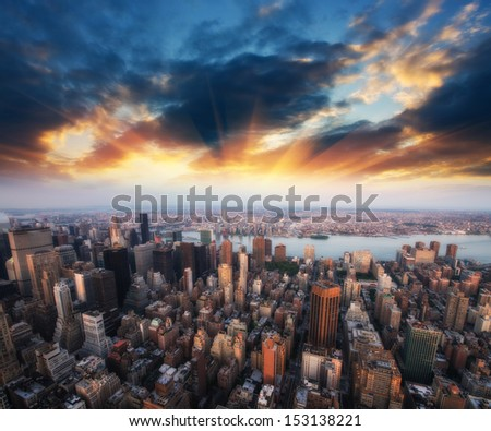 Summer colors of Manhattan Skyscrapers, Murray Hill and Midtown East with East River. - stock photo