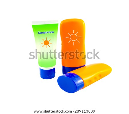 Summer concept : Beach items - Bottles with sunblock lotion isolate on white with clipping path - stock photo