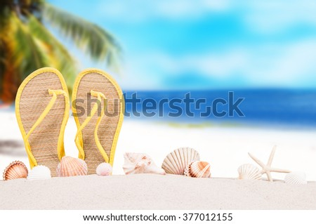 Summer concept of sandy beach, flip flops and starfish. - stock photo