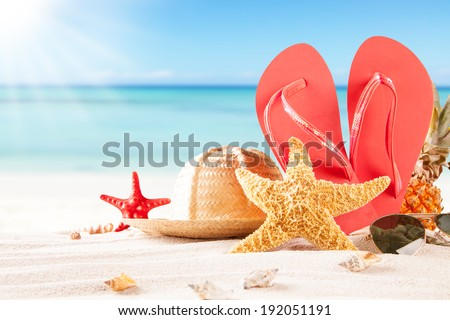 Summer concept of sandy beach, straw hat, shells and starfish. - stock photo