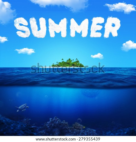 Summer concept text word in clouds on blue sky. Ocean underwater with coral reef and turtle. Island with palm trees in the ocean - stock photo