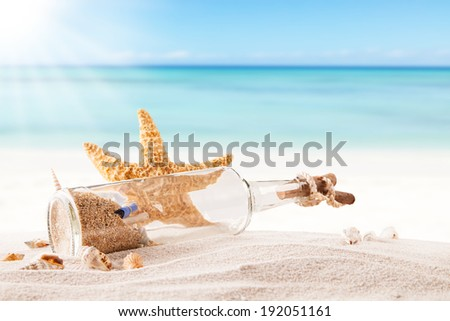 Summer concept with sandy beach, shells and starfish. - stock photo