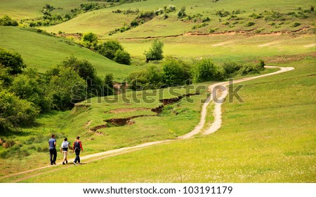 summer country road landscape with few people in walk