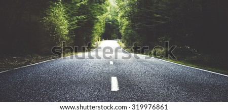Summer Country Road With Trees Beside Concept - stock photo