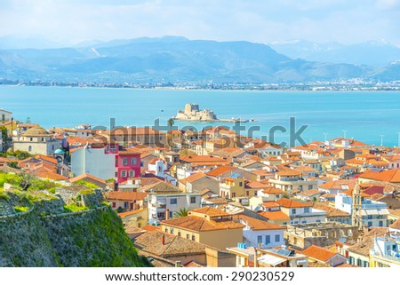 Summer day above the old town of Nafplio, Greece