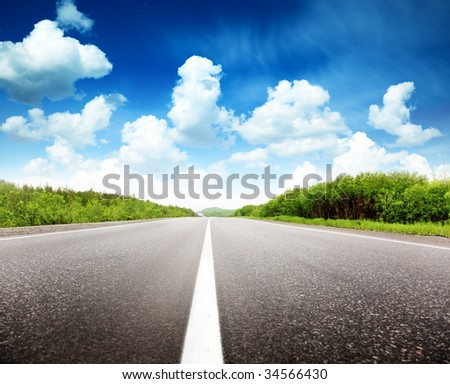 summer day and road - stock photo