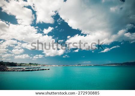 Summer day, Greece, Zakynthos island - sea, sky, vacation. - stock photo
