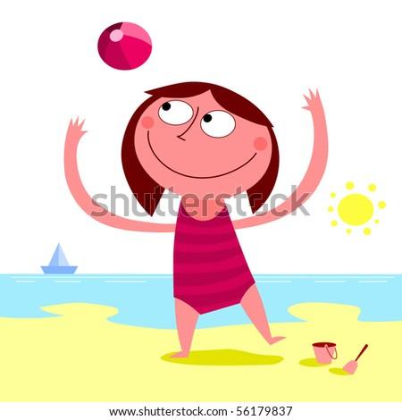Summer day on the beach - raster - stock photo
