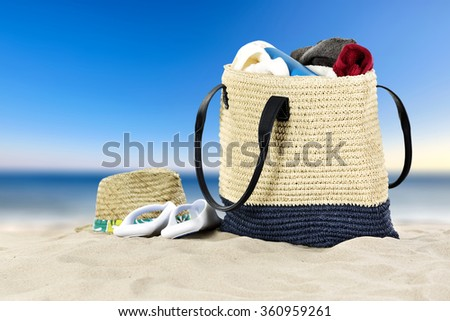 summer decoration of bag sand and sky with sea