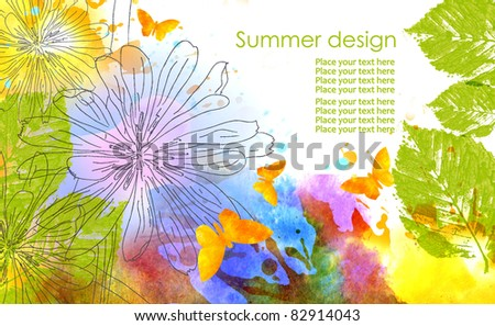Summer design in watercolor technique:flowers, leaves and butterfly on white background. - stock photo