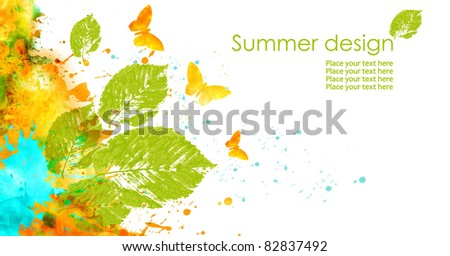 Summer design in watercolor technique: leaves and butterfly on white background. - stock photo
