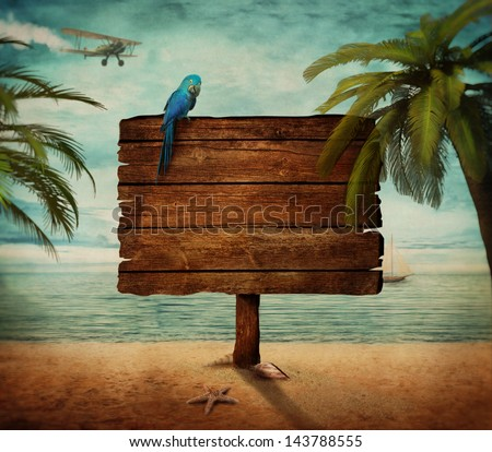 Summer design -  Tropical beach  with wooden sign at the sea. Ocean design with palms and beach - stock photo