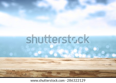 summer desk sea and sky of blue  - stock photo