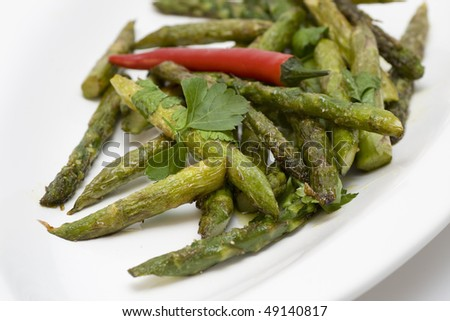 Summer dish of grilled asparagus - stock photo