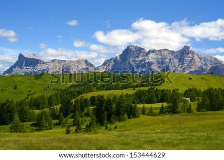 Summer dolomites mountains landscape - stock photo