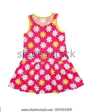 Summer Dress for little girl isolated on white background - stock photo