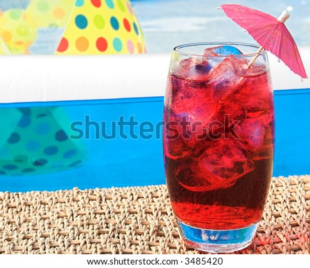 summer drink by pool - stock photo