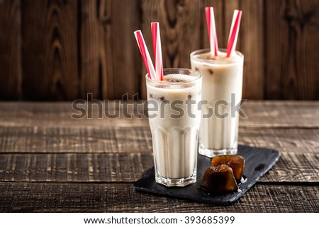 summer drink iced coffee with milk