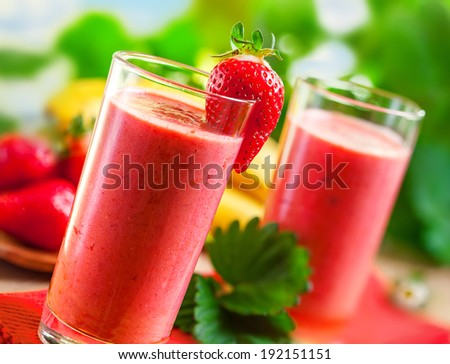 Summer drink, strawberry smoothies, outdoor - stock photo