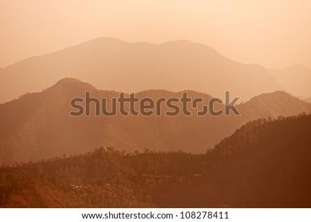 Summer early morning foggy Himalayas mountains landscape in Shimla, Himachal Pradesh India - stock photo
