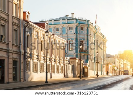 summer early morning on the old center in Moscow, Maroseyka Street and the Embassy of the Republic of Belarus - stock photo