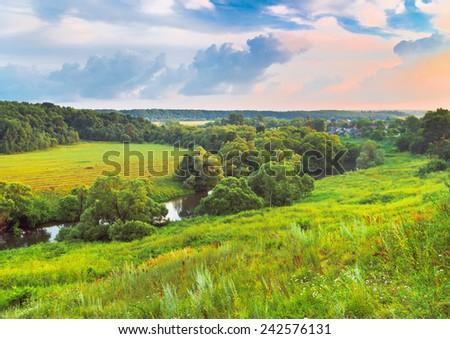 Summer evening. Protva river near Borovsk. Kaluga region of Russia - stock photo