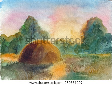 Summer evening, stacks on field. Watercolor landscape - stock photo