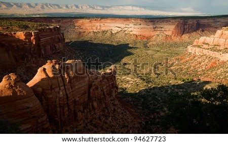 Summer evening view of the Colorado National Monument, Colorado, USA - stock photo