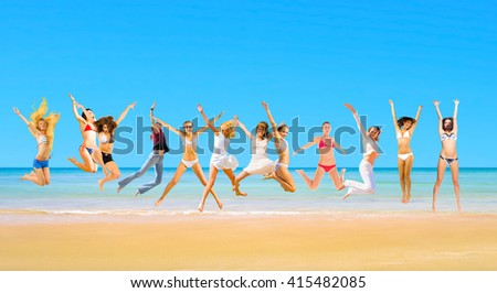 Summer Exercise Flying Beauties  - stock photo