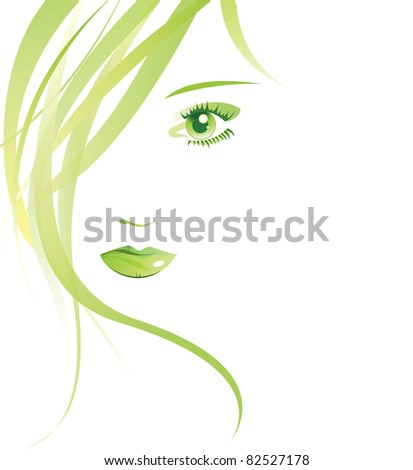 Summer face female isolated - stock photo