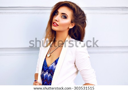 Summer fashion portrait of elegant sexy woman, wearing luxury trendy cute outfit, bright ,make up, brunette hairs, posing travel alone at city center of Europe, joy, vacation.Close up beauty. - stock photo
