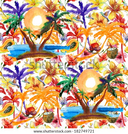 summer feeling pattern. fruits, flowers and palmtrees. watercolor painting - stock photo