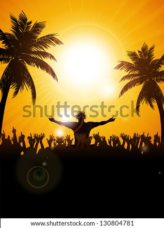 Summer Festival Background with DJ, Crowd and Palm trees