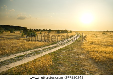 Summer field with road and sunset sky. - stock photo