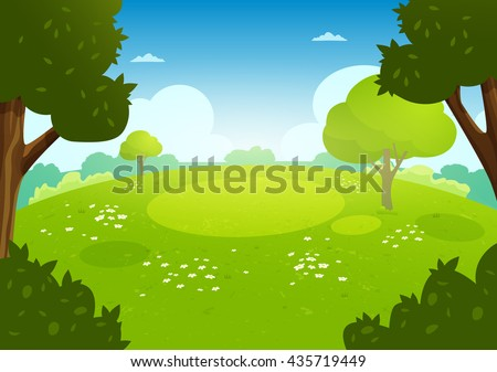 Summer flat landscape. Spring cartoon background. Meadow with flowers in the forest