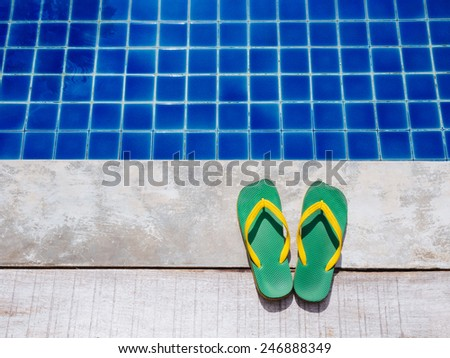Summer Flip flops, Pool Holiday Summer Background - stock photo