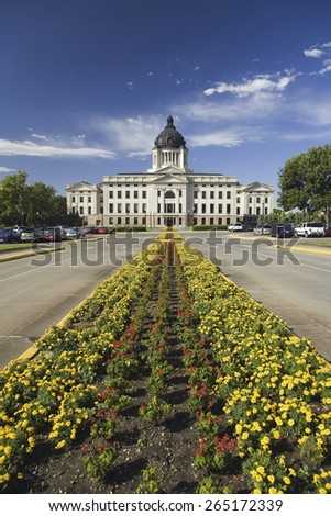 Summer flower-bed leading to South Dakota State Capitol and complex, Pierre, South Dakota, was built between 1905 and 1910 - stock photo