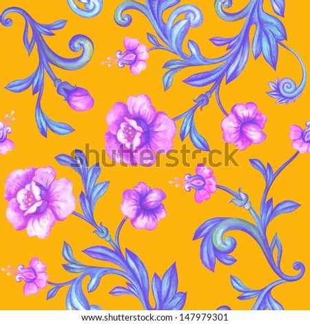summer flower decorative seamless pattern, watercolor drawing