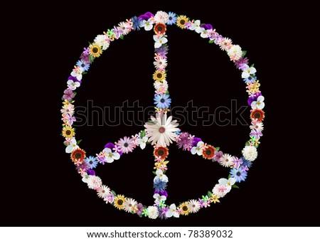summer flower peace sign on black - stock photo