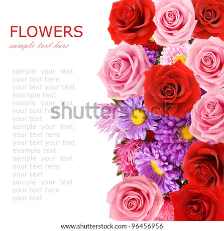 Summer flowers and roses bouquet background isolated on white with sample text - stock photo