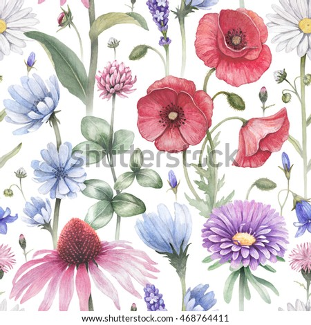 Summer flowers illustrations. Watercolor seamless pattern