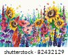 Summer flowers in garden.Picture I have created with watercolors. - stock photo