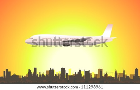 Summer Flying Airplane/ Illustration of a flying airplane traveling with a summer or spring sunset cityscape background
