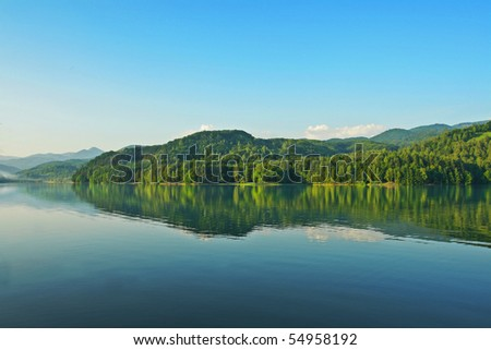 Summer forest lake with mirror reflection - stock photo