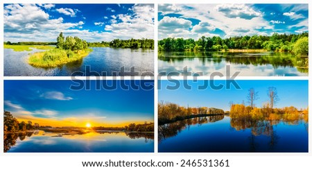 Summer Forest River With Reflection Of Coast. Set, Collage - stock photo