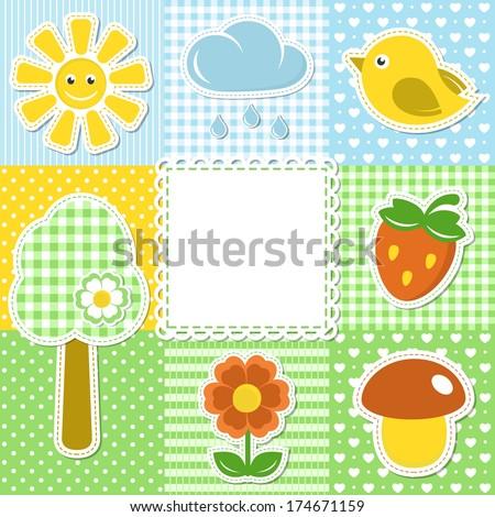 Summer frame on textile background - stock photo