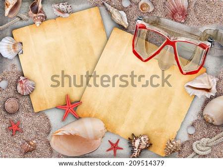 Summer frame with copyspace blank paper  - stock photo