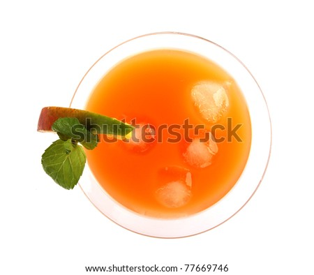 Summer fresh drink, isolated on white background.top view - stock photo