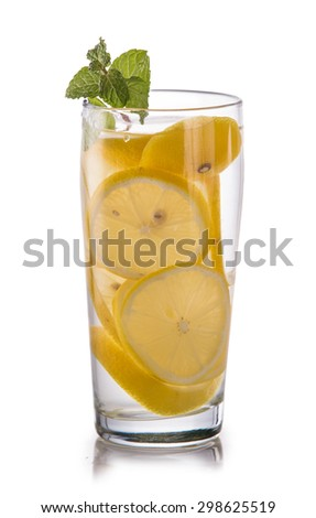 Summer fresh fruit Flavored infused water mix of lemon isolated over white background