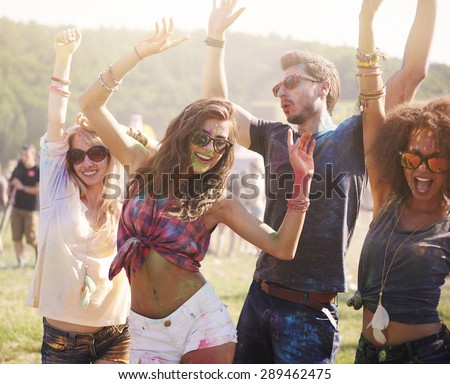 Summer, friends and good music!  - stock photo
